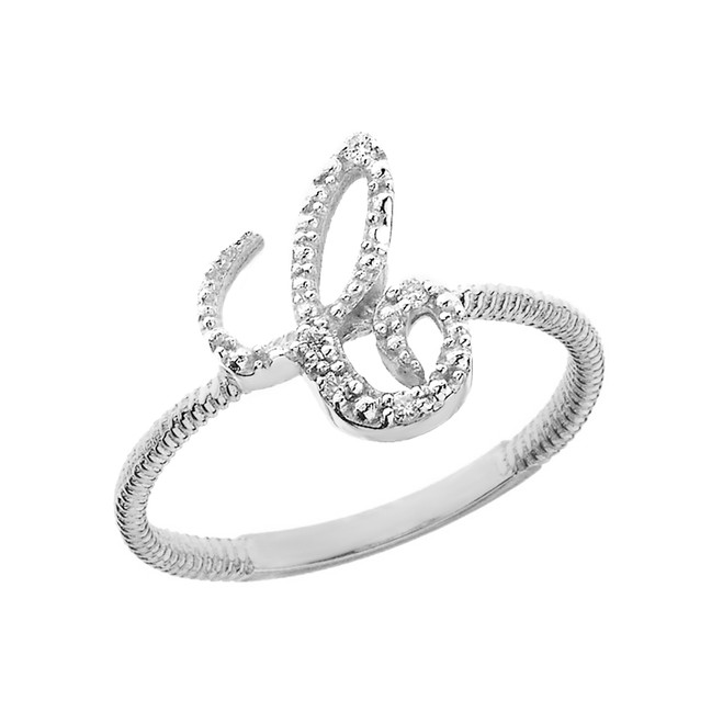 "Sterling Silver Script Initial ""C"" Stackable CZ Ring"