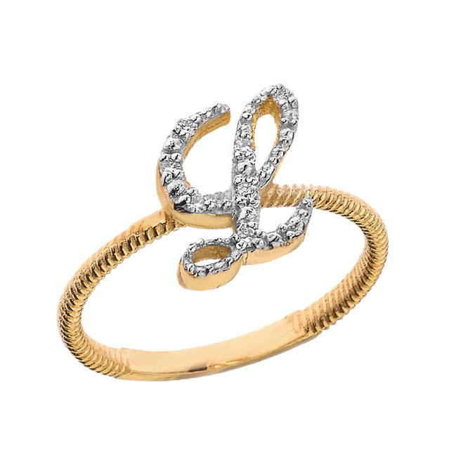 """Solid Yellow Gold Script Initial """"L"""" Stackable Diamond Ring"""