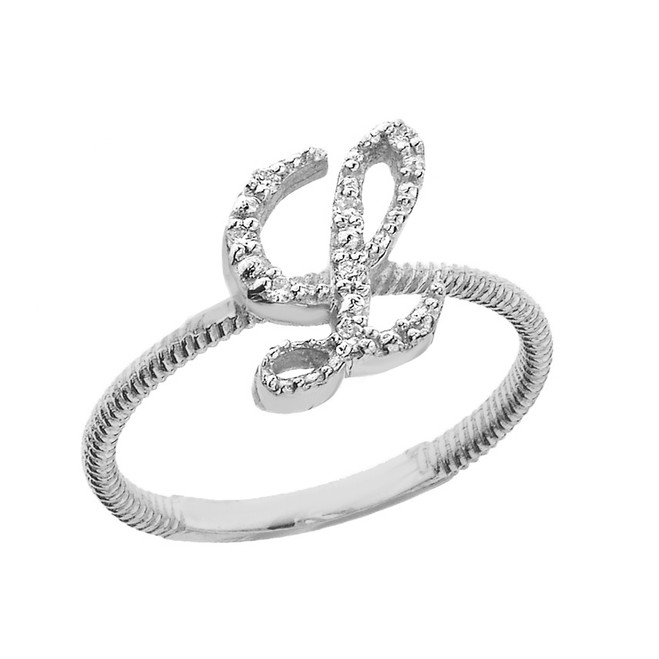 """Solid White Gold Script Initial """"L"""" Stackable Diamond Ring"""