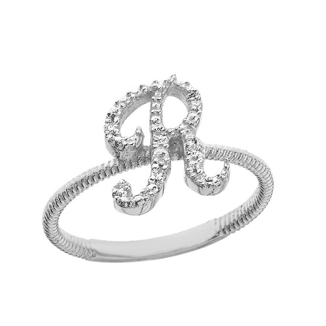 """Sterling Silver Script Initial """"R"""" Stackable CZ Ring"""