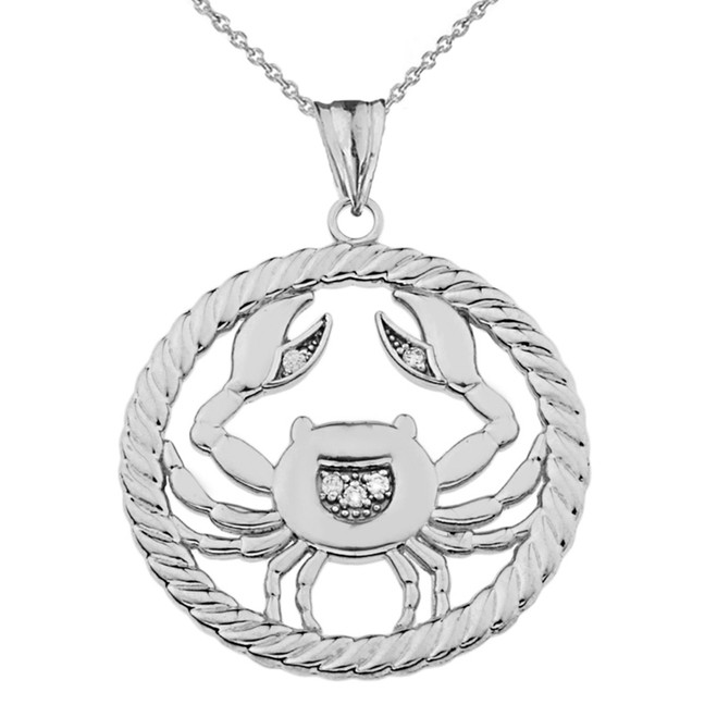 Cubic Zirconia Cancer Zodiac in Rope Pendant Necklace in Sterling Silver