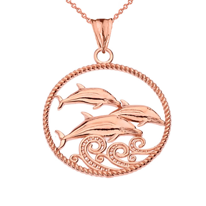 Roped Dolphin Trio Pendant Necklace in Rose Gold
