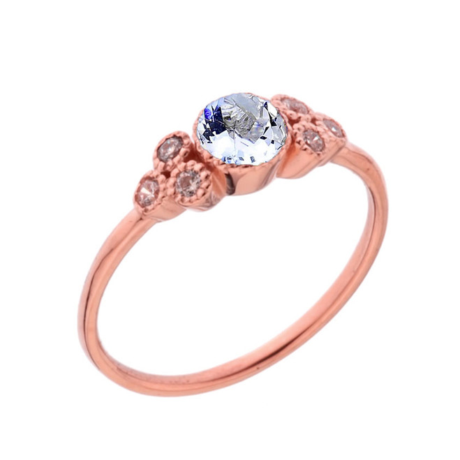Dainty Chic Genuine Aquamarine and White Topaz Promise Ring in Rose Gold