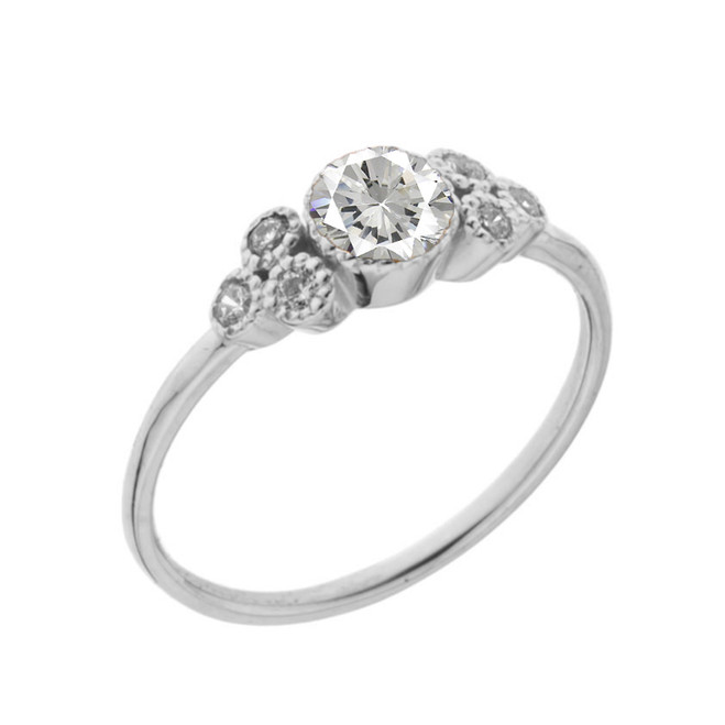 Dainty Chic Cubic Zirconia and White Topaz Promise Ring in White Gold