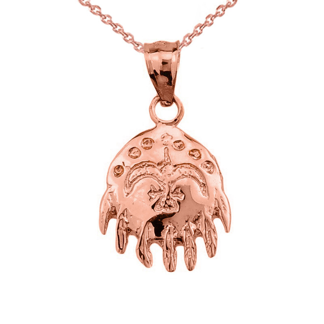 Rose Gold Native American Indian Pendant Necklace