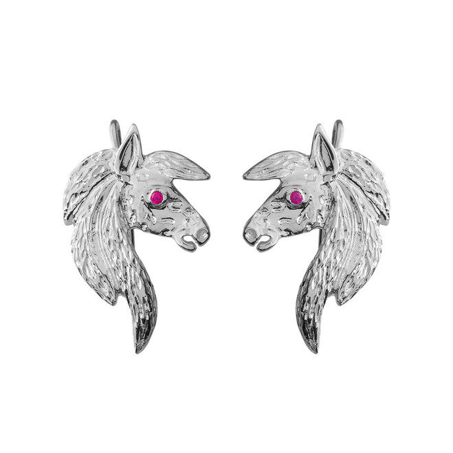 Exquisite Ruby Eyed Horse Earrings in White Gold