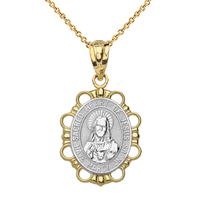 Solid Two Tone Yellow Gold Sacred Heart of Jesus Pendant Necklace