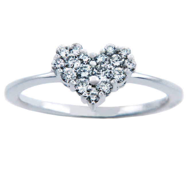 Ladies Rings - Gold Heart of Diamonds Ring