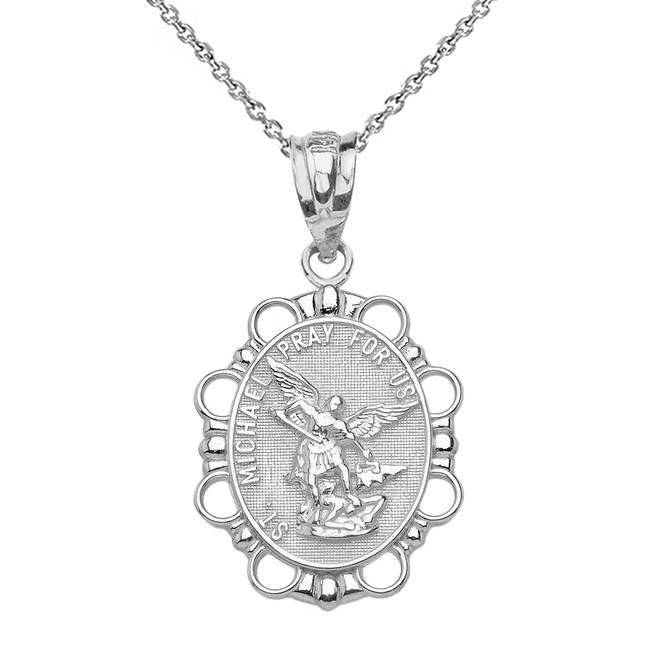 White gold saint michael pendant solid white gold saint michael pendant necklace aloadofball Gallery