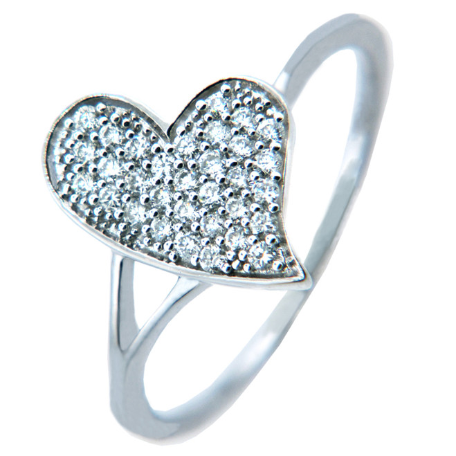 Ladies Rings - Gold Diamond Heart Ring