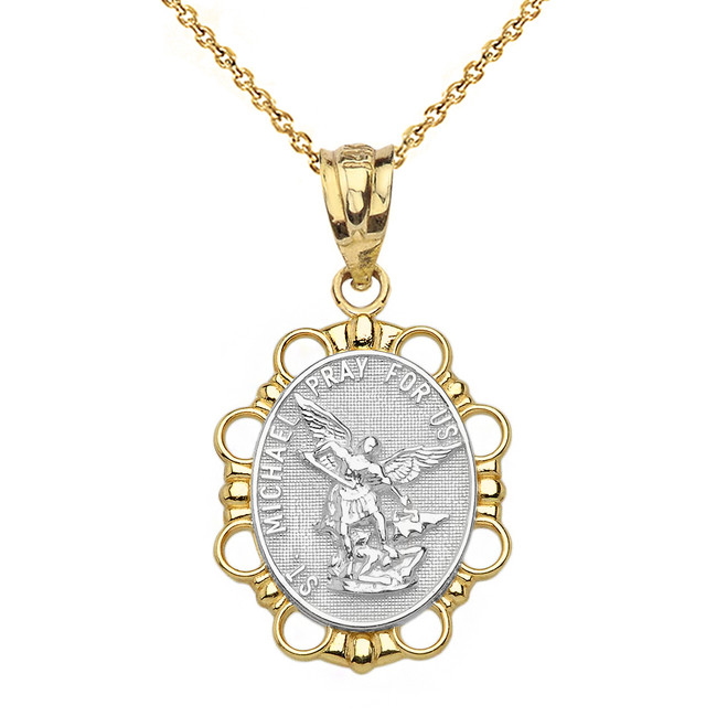 Solid Two Tone Yellow Gold Saint Michael Pendant Necklace