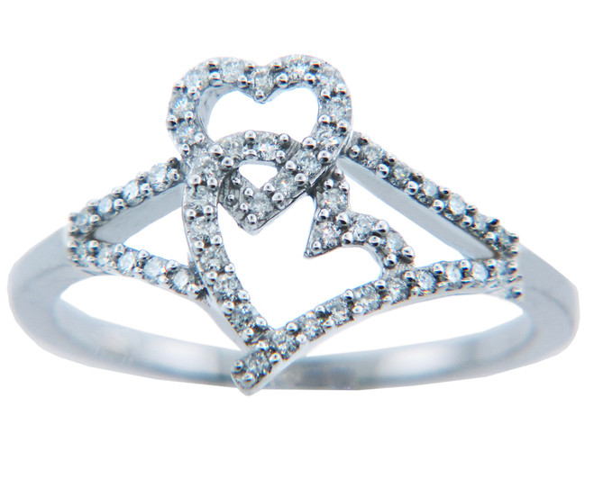 Joined Hearts of Diamonds Gold Ring