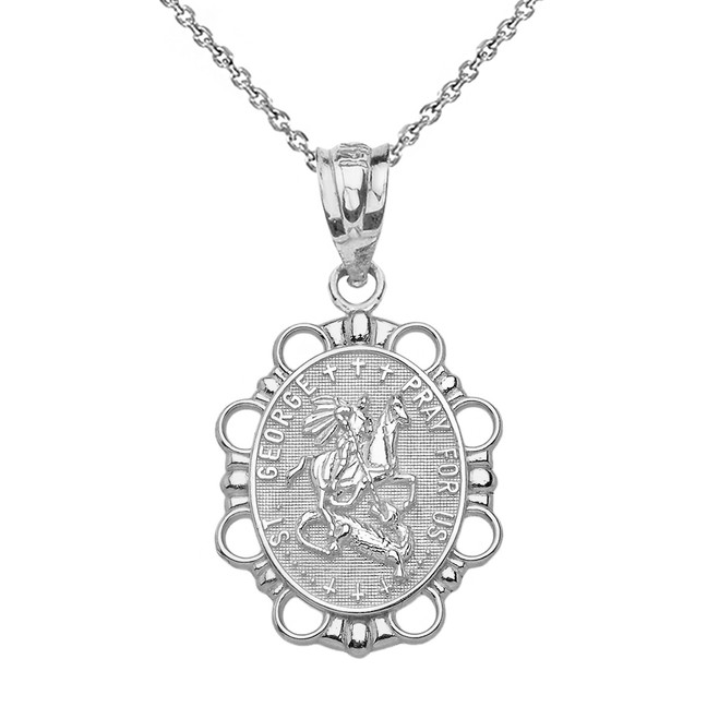 Solid White Gold Saint George Pendant Necklace