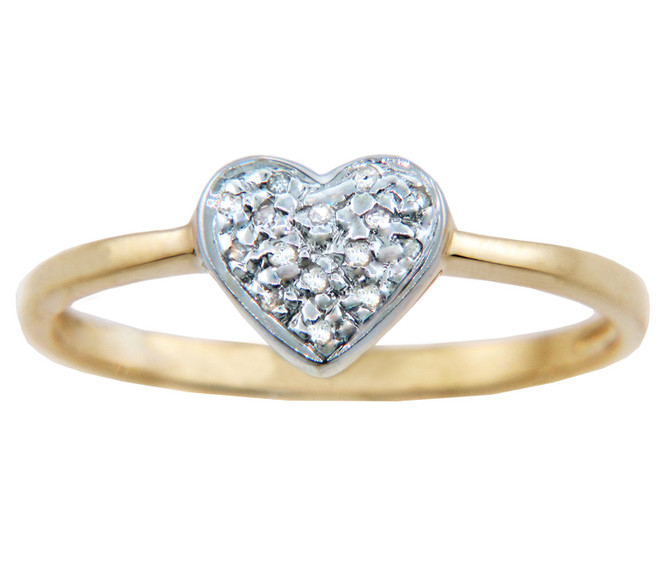 Ladies Rings - Two Tone Gold Diamond Heart Ring