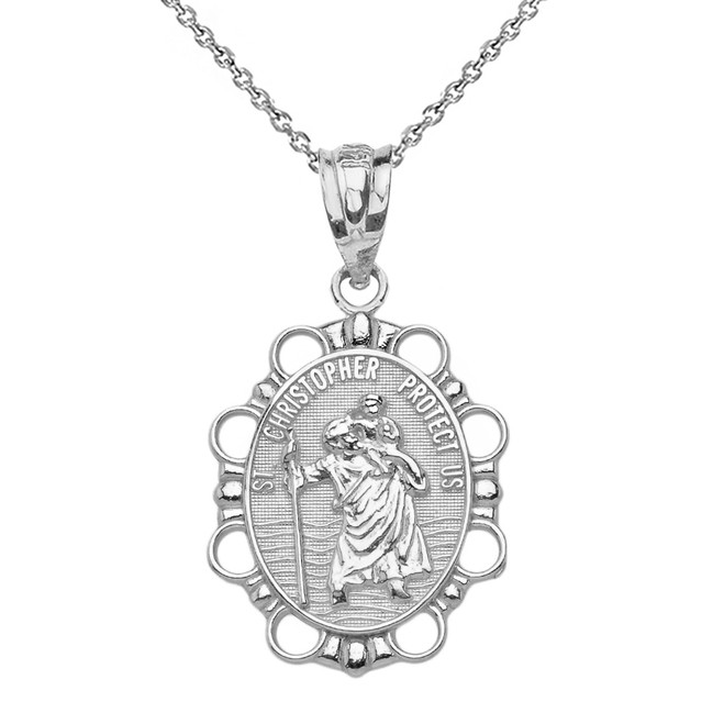 Solid White Gold Saint Christopher Pendant Necklace