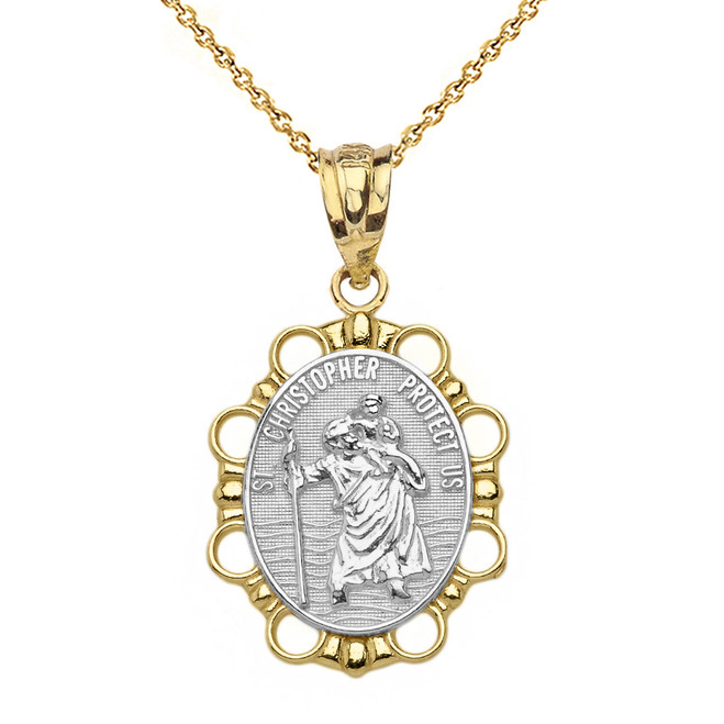 Solid Two Tone Yellow Gold Saint Christopher Pendant Necklace
