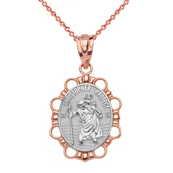 Solid Two Tone Rose Gold Saint Christopher Pendant Necklace