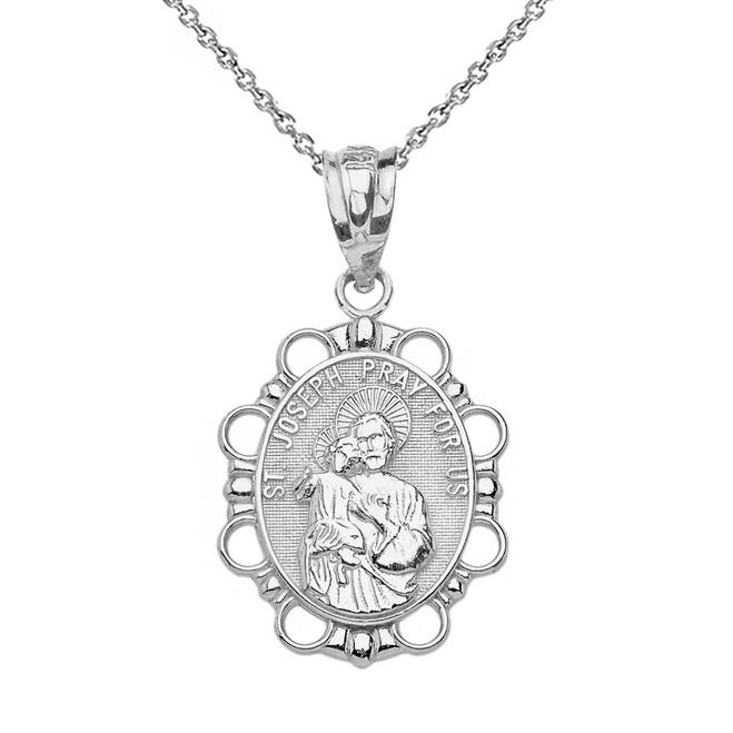 Solid White Gold Saint Joseph Pendant Necklace