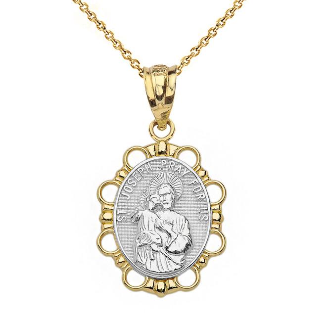 Solid Two Tone Yellow Gold Saint Joseph Pendant Necklace