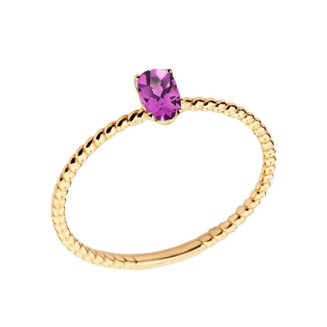 Dainty Lab Created Alexandrite Oval Rope Ring in Yellow Gold