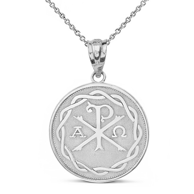 Solid Rose Gold Ancient Christian Chi Rho Px Symbol Disc Pendant