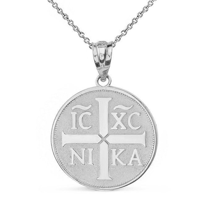 Solid White Gold Christian Symbol ΙϹ ΧϹ ΝΙΚΑ  Jesus Christ Conquers Pendant Necklace