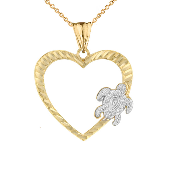 Honu Hawaiian Turtle  Heart Pendant Necklace in Two-Tone Yellow Gold
