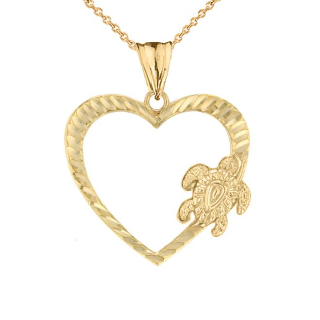 Honu Hawaiian Turtle Heart Pendant Necklace In Sterling Silver