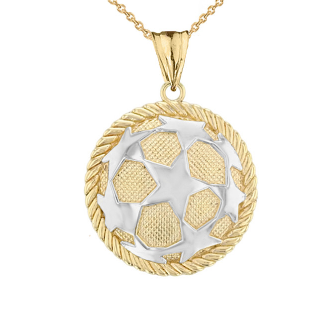Star Soccer Ball in Rope Pendant Necklace in Two-Tone Yellow Gold