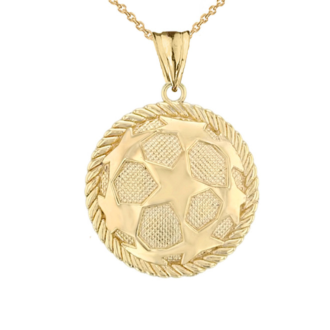 Star Soccer Ball in Rope Pendant Necklace in  Yellow Gold