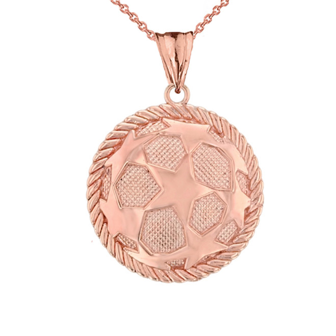 Star Soccer Ball in Rope Pendant Necklace in  Rose Gold