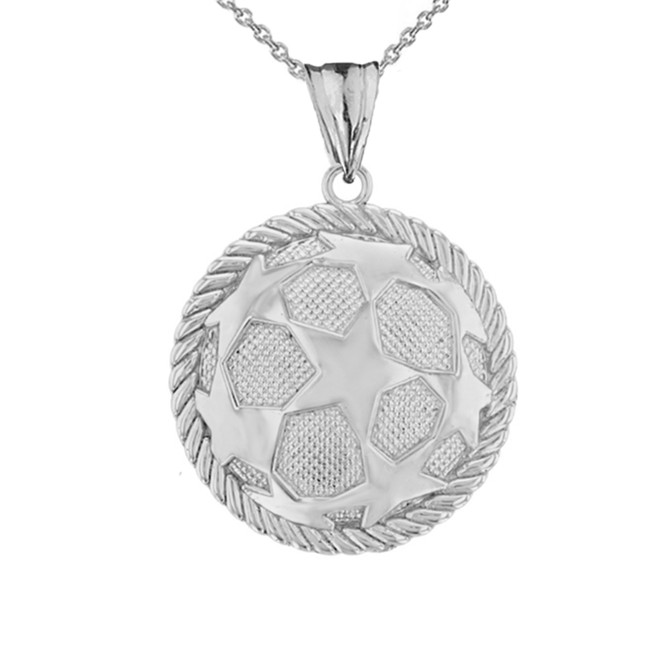 Star Soccer Ball  in Rope Pendant Necklace in  White Gold