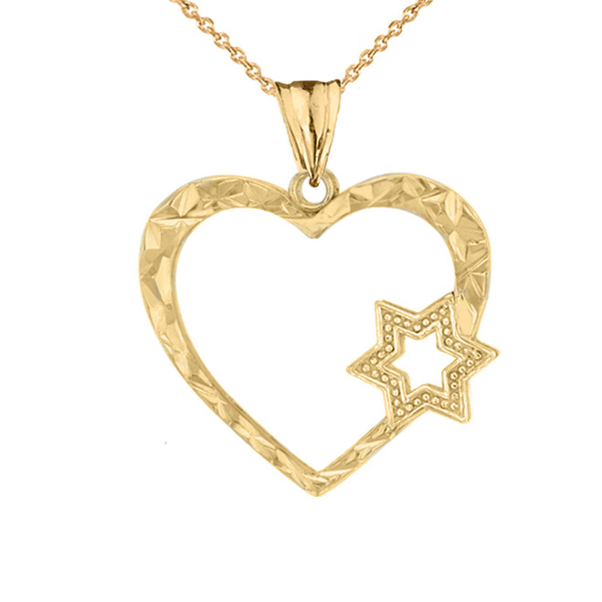 Star Of David Heart Pendant Necklace in Yellow Gold