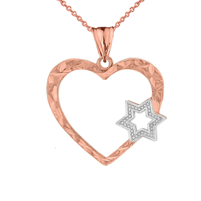 Star Of David Heart Pendant Necklace in Two-Tone Rose Gold