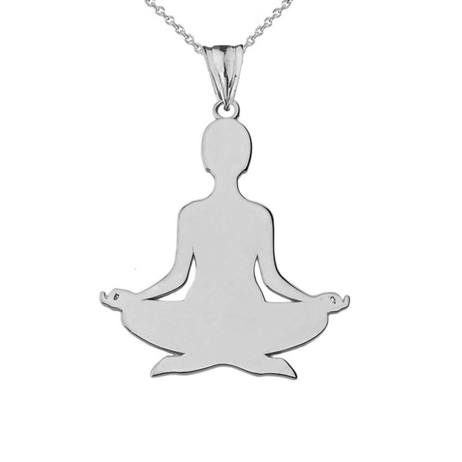 Meditating Yogi Pendant Necklace in White Gold