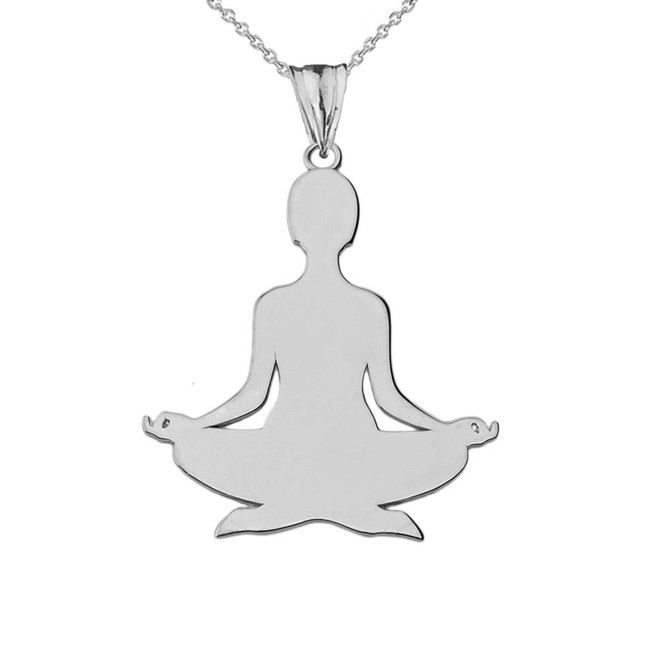 Meditating Yogi Pendant Necklace in Sterling Silver