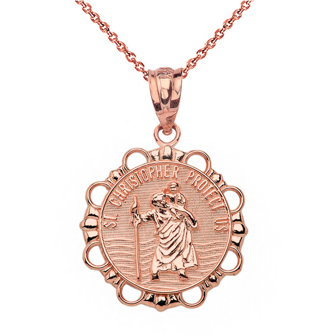 Solid Rose Gold Round Saint Christopher Pendant Necklace