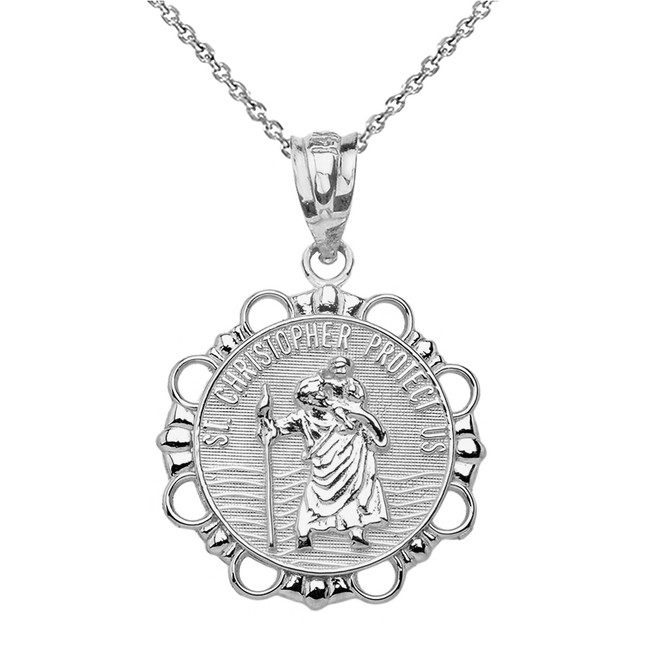 Sterling Silver Round Saint Christopher Pendant Necklace