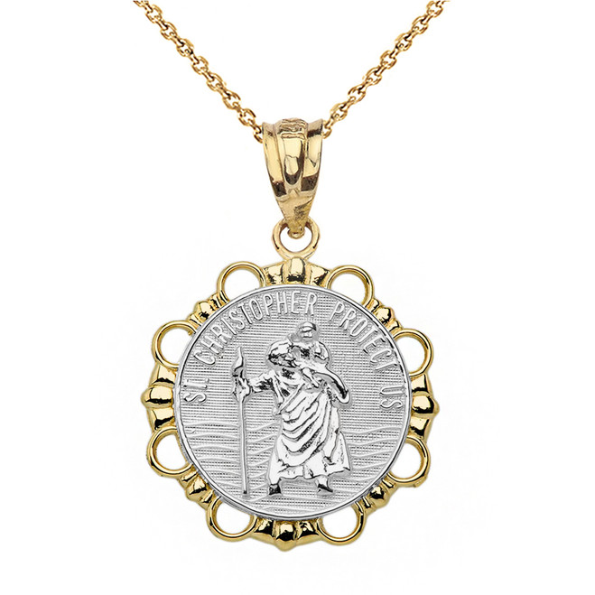 Solid Two Tone Yellow Gold Round Saint Christopher Pendant Necklace