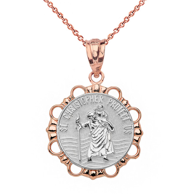 Solid Two Tone Rose Gold Round Saint Christopher Pendant Necklace