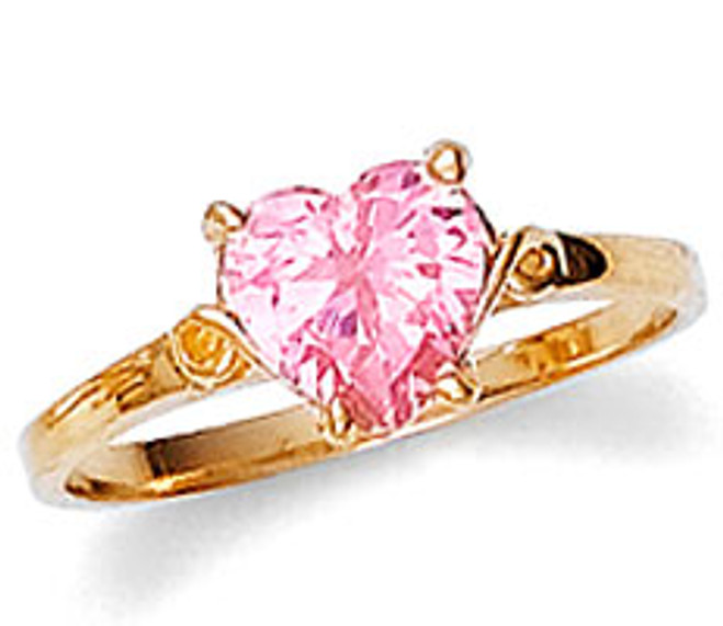 Ladies Pink Heart Cubic Zirconia Ring