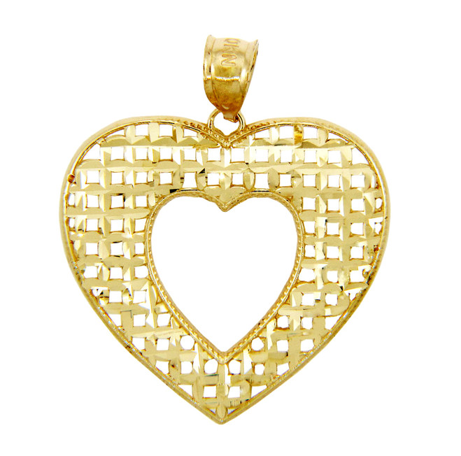 Gold Pendants - Gold Basketweave Heart Pendant