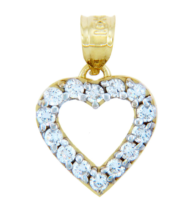 Gold Pendants - Classic Gold Heart Pendant with CZ Rim