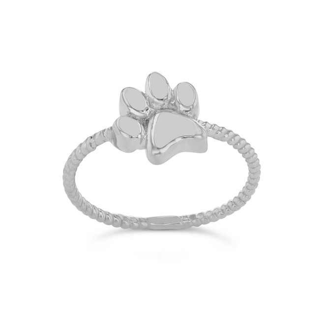 Dog Paw Rope Ring in White Gold