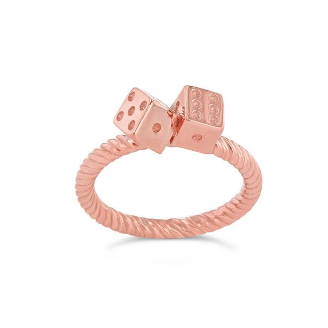 Dice Rope Ring in Rose Gold