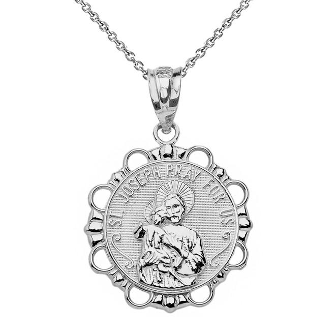 Sterling Silver Round Saint Joseph Pendant Necklace