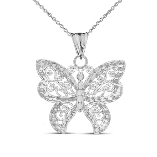 Filigree Butterfly Pendant Necklace in White Gold