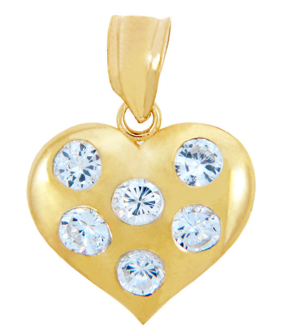Gold Pendants - Gold Heart Pendant with Six Cubic Zirconias