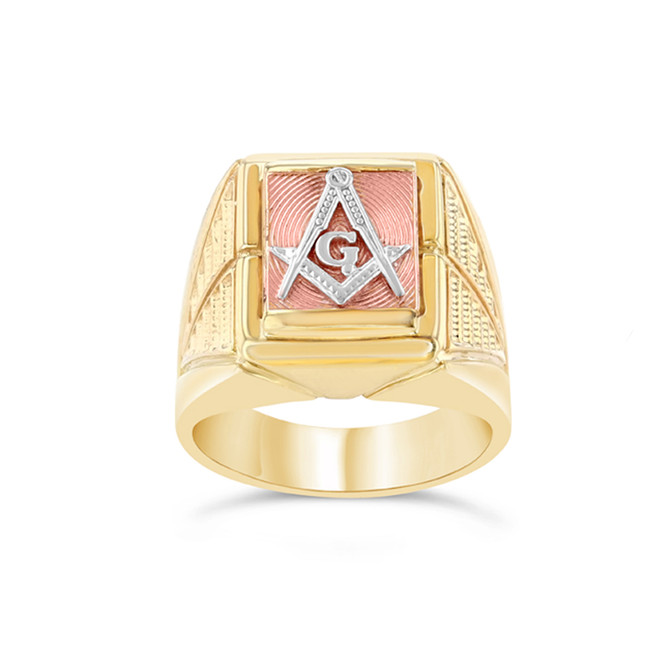 Tri-Color Gold Men's Masonic Ring