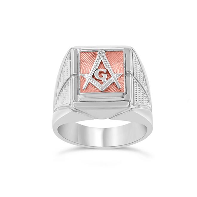 Two-Tone White Gold Men's Masonic Ring